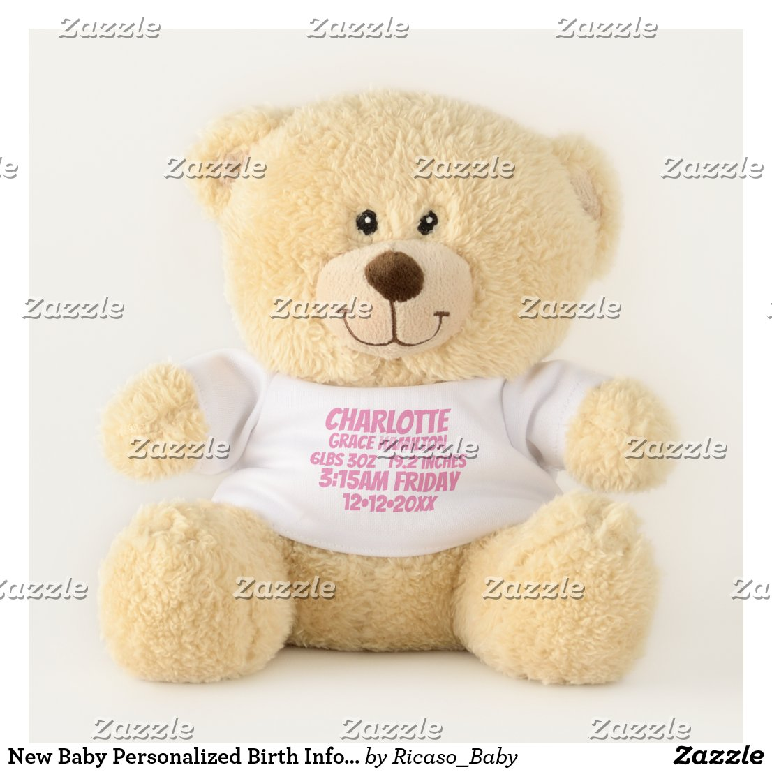 New Baby Personalized Birth Information (pink)