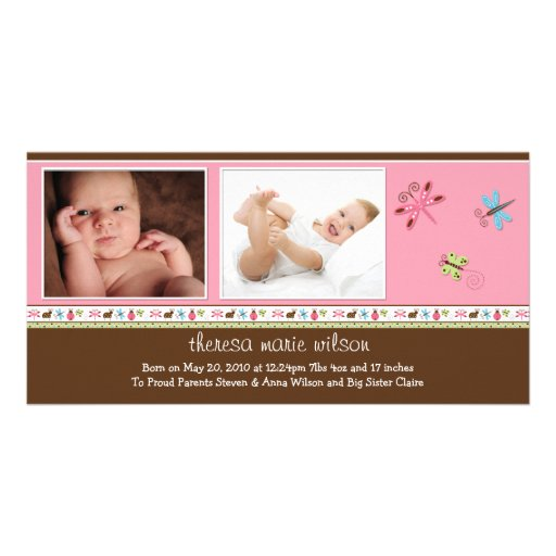 New Baby Photo Announcement Card Personalized Photo Card