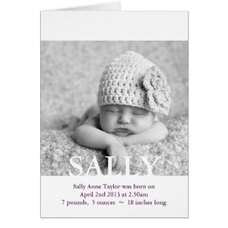 New Baby Photo Birth Announcement / Thank you Greeting Card