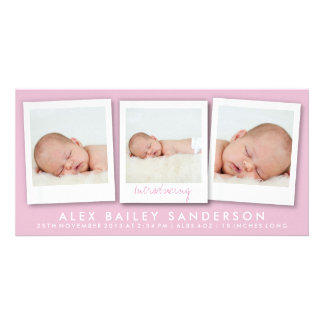 New Baby Photo Card | Multiple Photos | Pink