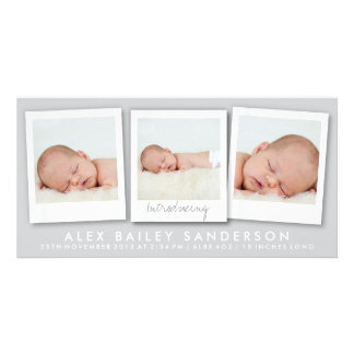New Baby Photo Card | Multiple Photos | Silver