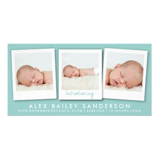 New Baby Photo Card | Multiple Photos | Teal