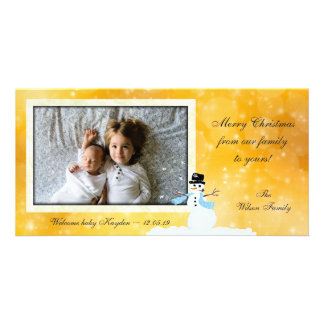 New Baby Photo Christmas Gold Cards