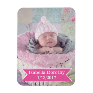 New Baby Photo, Name & Birth Date Photo Magnet