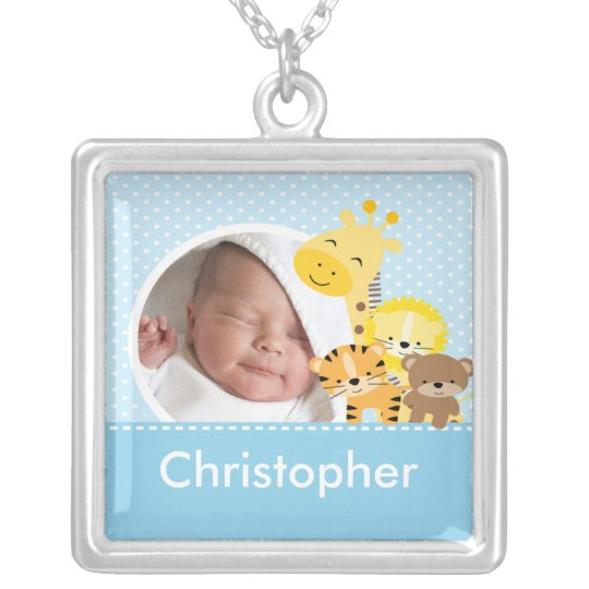 New Baby Photo Necklace Cute Boy Jungle Animals