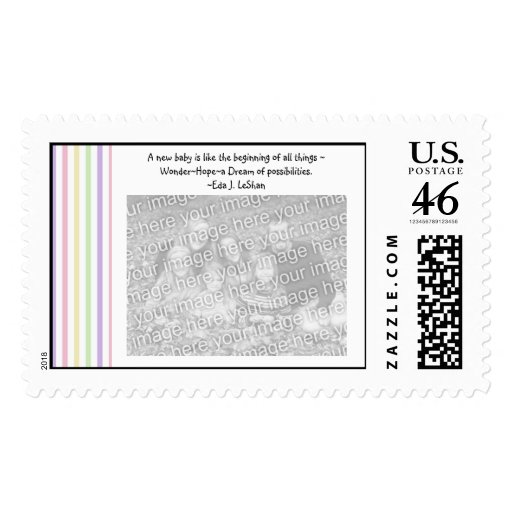 New Baby Photo Postage Stamp Template