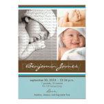 """New Baby Photo Trio Birth Announcement (blue) 5"""" X 7"""" Invitation Card"""