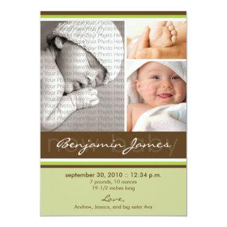 New Baby Photo Trio Birth Announcement (green)