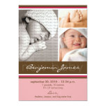 "New Baby Photo Trio Birth Announcement (pink) 5"" X 7"" Invitation Card"