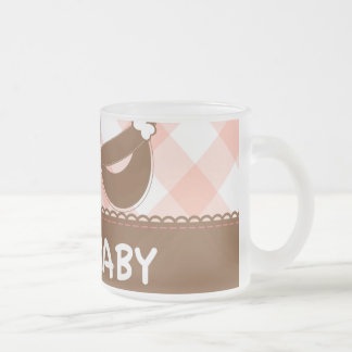 New Baby Pink and Brown Frosted Glass Coffee Mug