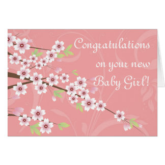New Baby Pink Cherry Blossom Card