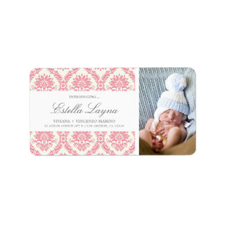 NEW BABY PINK DAMASK   ADDRESS LABELS