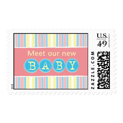 New baby pink postage stamp