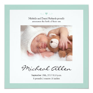 New Baby Poem Birth Announcement Mint Green