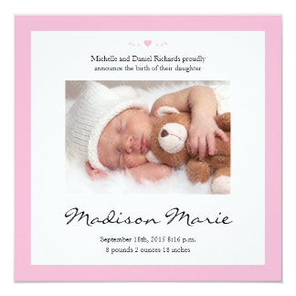 New Baby Poem Birth Announcement Pink