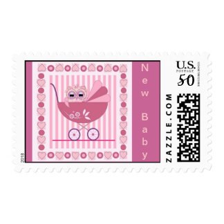 New Baby postage with Owl in Pram & text