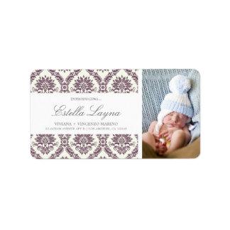 NEW BABY PURPLE DAMASK   ADDRESS LABELS