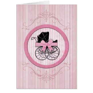 New Baby Shabby Chic Vintage Pink Card