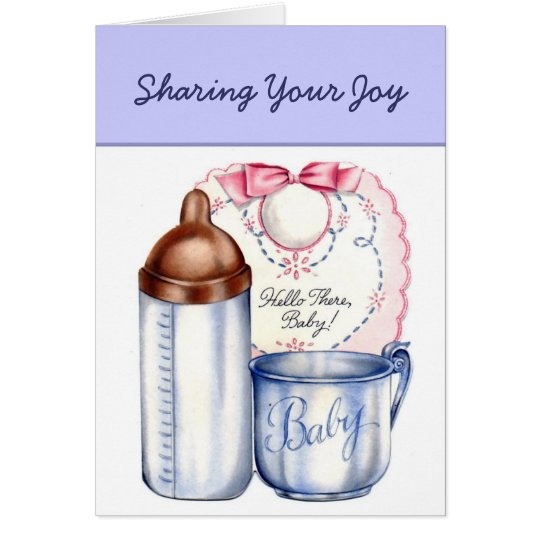 New Baby sharing your joy  retro vintage Card