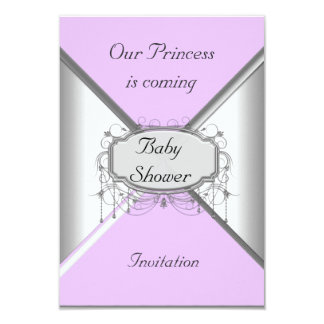 NEW Baby Shower Party Pink Silver  Invitation