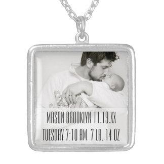 New Baby Stats Photo Keepsake Necklace