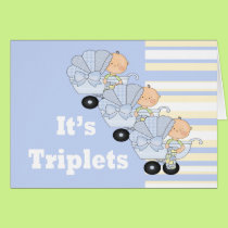 New Baby Triplet Boys Card