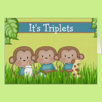 New Baby Triplet Boys Cute Monkey Card