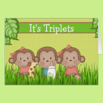 New Baby Triplet Two Girls One Boy Cute Monkey Card