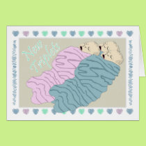 New Baby Triplets Two Boys and One Girl Card