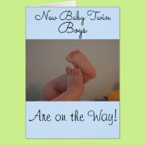 New Baby Twin Boys On the Way Baby Feet Card
