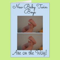New Baby Twin Boys Photo Card