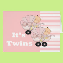 New Baby Twin Girls Card
