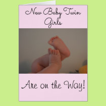 New Baby Twin Girls On the Way Congratulations Card