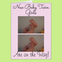 New Baby Twin Girls On the Way Photo Card