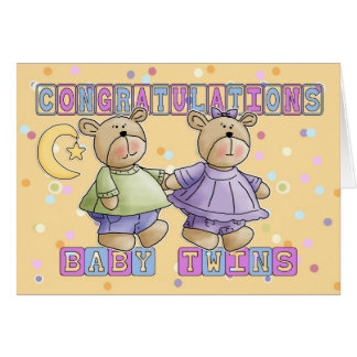 New Baby Twins Congratulations Greeting Card