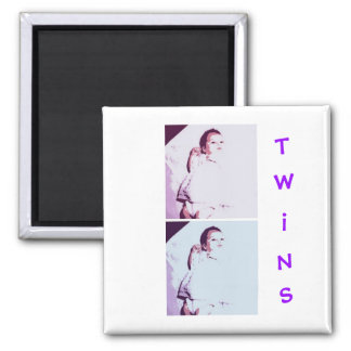 New Baby Twins 2 Inch Square Magnet