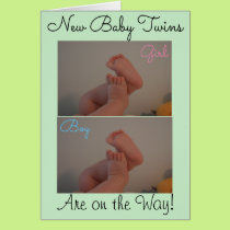 New Baby Twins On the Way Congratulations Card