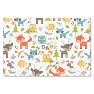 New Baby Typography With Cute Wood Animals Tissue Paper