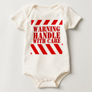 New baby warning stripes handle with care baby bodysuit
