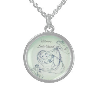 New Baby Welcome Little Cherub Sterling Silver Necklace