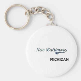 New Baltimore Michigan City Classic Basic Round Button Keychain