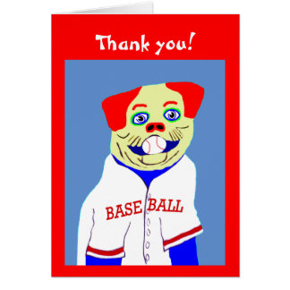 New Baseball Dog Kids Sports Thank You Note Gift Card