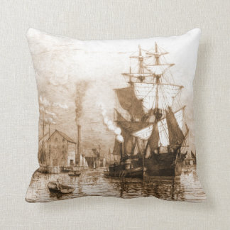 New Bedford Harbor 1903 Throw Pillow