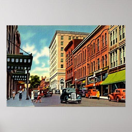 New Bedford Massachusetts Downtown Scene Print