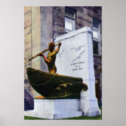 New Bedford Massachusetts el estatuto de Whaleman Póster