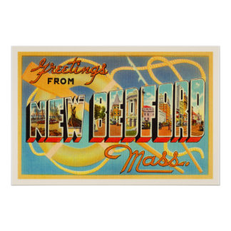 New Bedford Massachusetts MA Old Travel Souvenir Poster