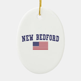 New Bedford US Flag Ceramic Ornament