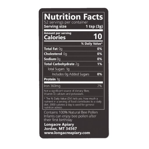 New Bee Pollen Nutrition Facts Jet Black Label