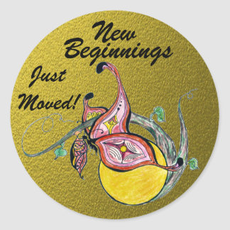 New Beginnings Adhesive Labels Classic Round Sticker