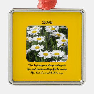 new-beginnings-are-always-exciting-and-offer-much square metal christmas ornament